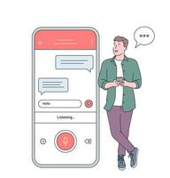 Voice recognition, speech recognition concept. Man boy holding smartphone talk with friend on loud speaker having pleasant conversation vector