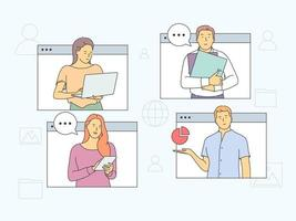 Online meeting, Virtual conference and video call concept. People partners meeting members taking part in online business meeting and distant negotiations vector