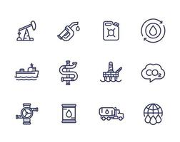 Petroleum industry, petrol, gasoline, oil and gas production, line icons set vector