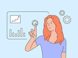 concepto de diagramas de análisis de datos visuales. joven mujer de negocios inteligente analizar datos en la pantalla de proyección. ilustración vectorial plana vector