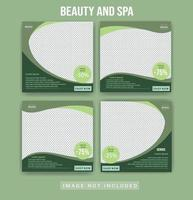 Beauty care spa social media posts template. Green Beauty spa social media post advertising template set vector