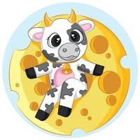 Cute cow vector with cheese