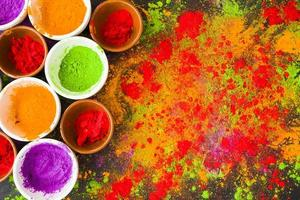 Plates with scattered colorful powder photo