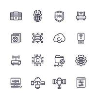 servers, network and hosting line icons set vector