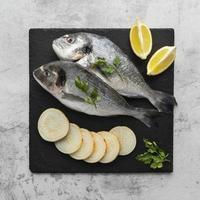 Sea bass with lemon and herbs photo