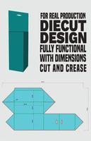 diseño de empaque de caja triangular troquelado, prisma triangular - cierre completamente superpuesto - cierre completamente superpuesto con panel extendido vector