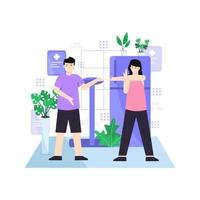 Flat vector illustration of people exercising