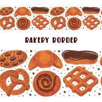 Bakery seamless border boulangerie set of elements clipart pretzel croissant bagel roll eclair waffle cookies watercolor food vector