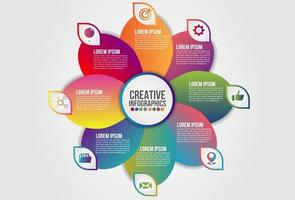 Infographics chart 8 steps options business concept circular or floral timeline vector