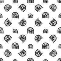 Bohemian rainbow seamless pattern. black and white digital paper vector