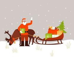 Santa Claus is standing next to a reindeer and a sleigh with gifts vector