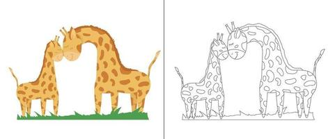 Outline illustration of a mother giraffe and a baby giraffe for coloring on the right side and such an illustration in color on the left side. Children's illustration for coloring. vector