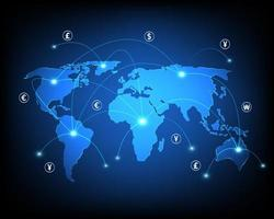 Business network and online money transfer and exchange network vector