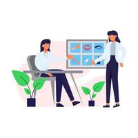un paciente en una consulta sobre la ilustración de vector de cuidado corporal