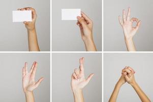 Set of hand gestures photo