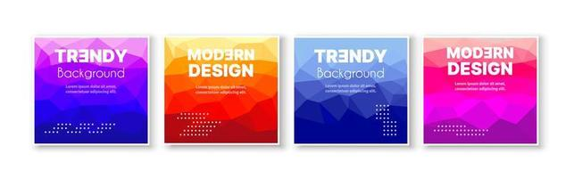Banner set collection flyer of abstract triangular geometric for template page frame sale business card. Trendy cover illustration of vector backdrop. Colorful pattern with clipping mask
