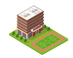 School isometric building study education urban infrastructure for conceptual design vector illustration with houses and streets.