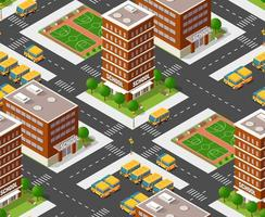School isometric building study education urban infrastructure for conceptual design vector seamless repeating pattern illustration with houses and streets.