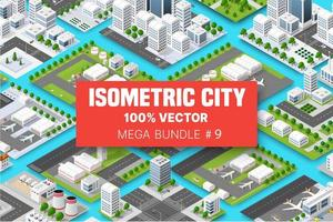 Isometric set terminal airport transportation of blocks module of areas of the city construction, and designing of the perspective city of design of the urban environment vector
