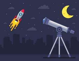 observe the launch of the spaceship with the help of a telescope flat vector illustration