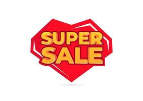 Super sale tag banner for promotion. vector