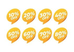 Sale and discount labels. Price off tag icon. 10, 20, 30, 40, 50, 60, 70, 80 percent sale. vector