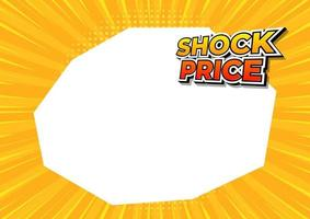 precio de choque en banner de fondo de cómic amarillo. plantilla de diseño de precio de choque. vector