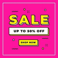 Sale 50 percent off promotion online banner on pink background template. vector