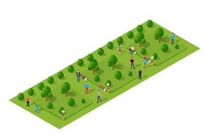 City quarter park top view landscape isometric 3D projection with people and trees vector