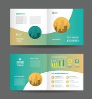 Corporate business bifold brochure design and company marketing flyer design vector