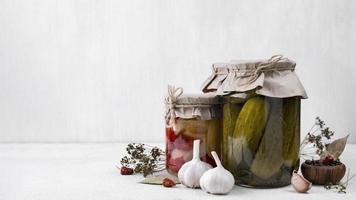 Pickled vegetables with white background photo
