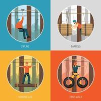 Rope Walk Park Activities Concept Vector Illustration
