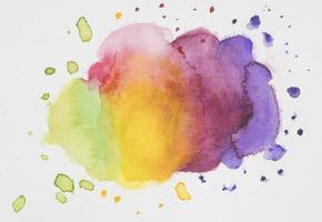 Multi-colored mixed paints on white paper photo