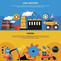 banderas de la industria minera vector