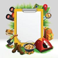 Camping realistic note pad composition Vector Illustration