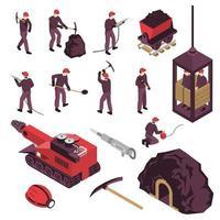 Los iconos isométricos de la industria minera establecen ilustración vectorial vector