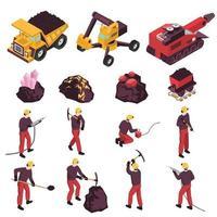 Mining Industry Isometric Icons Set Vector Illustration
