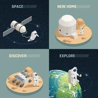 Space Exploration 4 Isometric Icons Vector Illustration