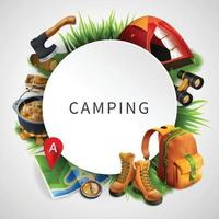 Camping Colored Composition Vector Illustration