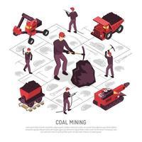 Coal Mining Isometric Elements Set Vector Illustration