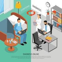 Ilustración de vector de banners isométricos de diagnóstico médico en línea