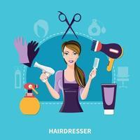 Hairdresser Flat Composition vector