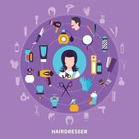 Hairdresser Round Composition vector
