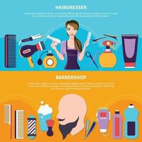 Hairdresser Colored Banner Set vector