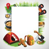 Camping Realistic Frame Vector Illustration
