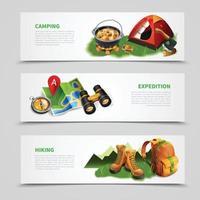 Camping Realistic Banner Set Vector Illustration