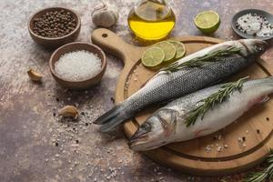 Seabass with salt and lime photo