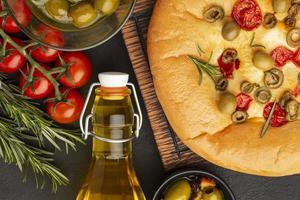 Delicious food arrangement above view photo