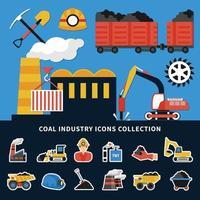 colección de iconos de minería vector