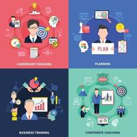 Coaching Concept Icons Set vector